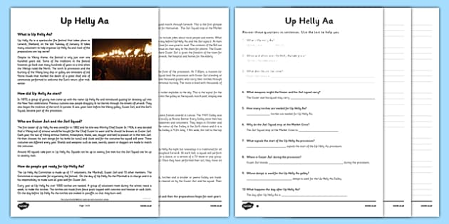 Up Helly Aa Comprehension Sheets and Information Sheet - CfE, Vikings, Scotland, Shetland, fire festival, longship, curriculum, excellence, Scottish, history