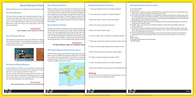 Special Olympics Reading Comprehension Activity - olympics