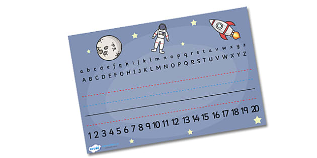 Space Alphabet Placemat - space, astronaut, planets, placemat, mat, rocekt, space ship, alien, moon