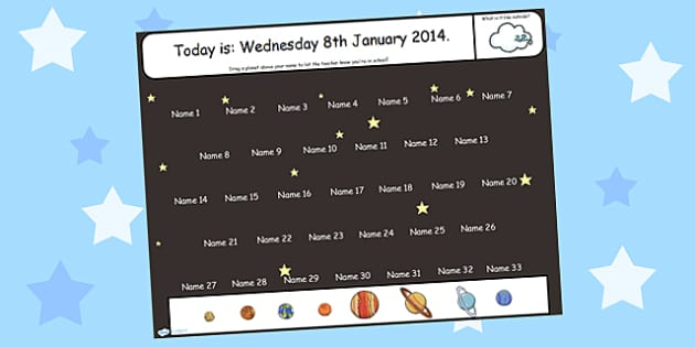 Space Themed Self Registration Flipchart - space, self reg