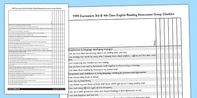 1999 Curriculum 3rd & 4th Class English Reading Assessment Group checklist - Ireland, Irish