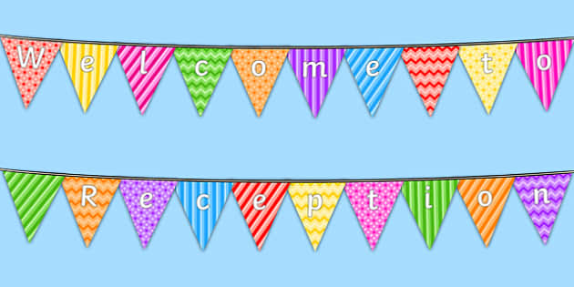 Welcome to Reception Bunting Multicoloured - reception, welcome to reception, bunting, themed bunting, display bunting, bunting flags, flag bunting, cutout