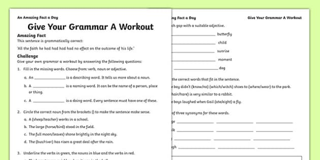 Give Your Grammar A Workout Activity Sheet, worksheet