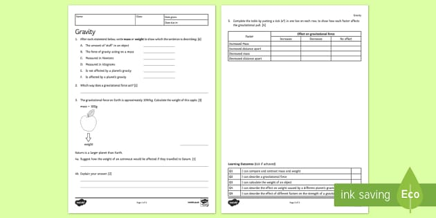 KS3 Gravity Homework Activity Sheet