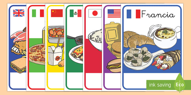 Póster DIN A4: Las comidas del mundo - decoración de la clase, exposición, mural, comer, sano, saludable, dieta, alimentación