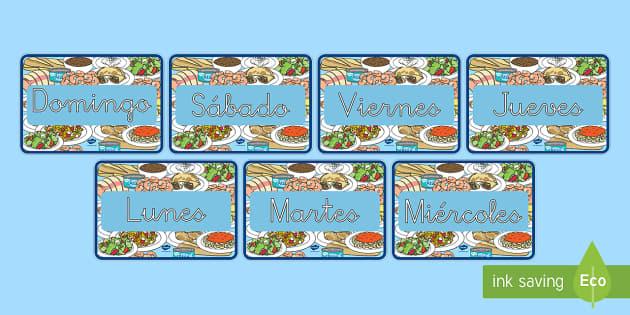 Los días de la semana de exposición: La comida - días, calendario, comer, saludable, sano, equlibrado, alimentación, dieta,Spanish