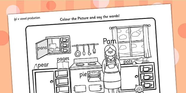 Word Inital p Production Colouring Scene - sound, colour, p