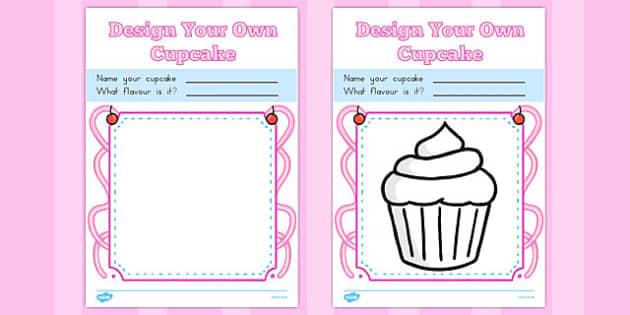 Design a Cupcake Colouring Sheets - australia, cupcake, colouring