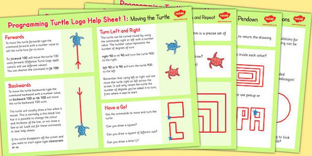 Programming Turtle Logo Help Sheets - Program, Turtle, Logo