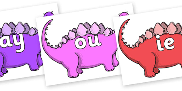 Phase 5 Phonemes on Stegosaurus - Phonemes, phoneme, Phase 5, Phase five, Foundation, Literacy, Letters and Sounds, DfES, display