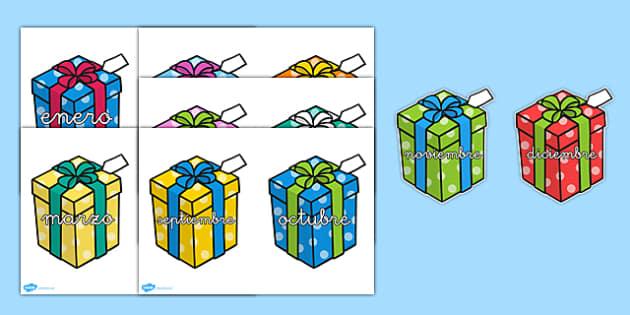 Los meses del año en regalos - cumpleaños, calendario, mural