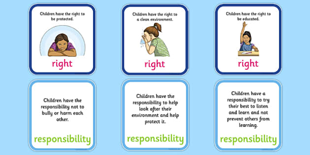 Matching Pairs of Rights and Responsibilities Activity - CfE, Health and Wellbeing, PSHE, Rights Respecting Schools, UN Charter Rights of the Child, Children's Rights, Responsibilities