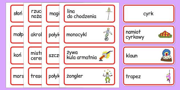 Karty ze słownictwem Cyrk po polsku - klauny, przedszkole