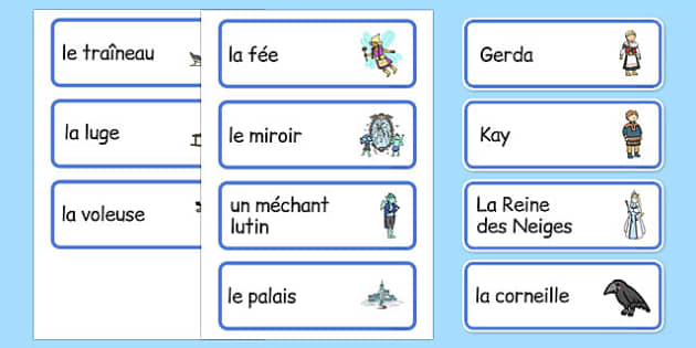 The Snow Queen Word Cards French - EAL, translated,