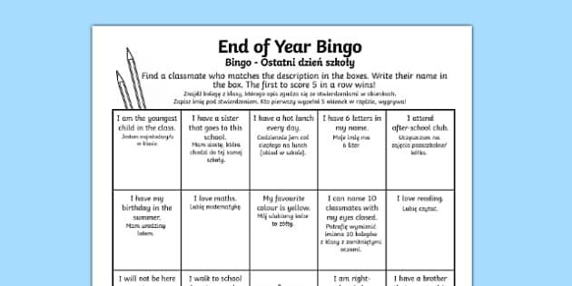 Last Day of School Bingo Activity Sheet Polish Translation - polish, last day of school, bingo, activity, worksheet