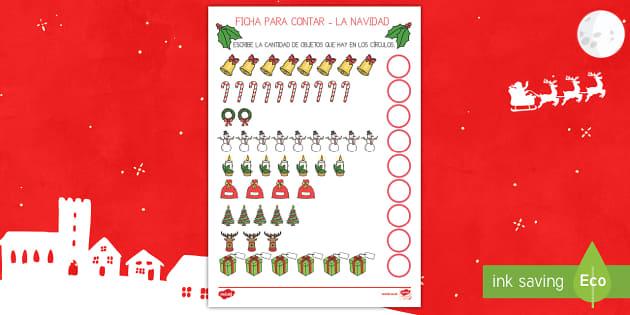 Ficha para contar: Números hasta 10 -  La Navidad - numeros, contar, navidad, navideño, navideña,Spanish - numeros, contar, navidad, navideño, navideña,Spanish