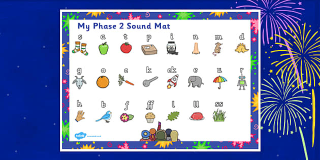 Bonfire Night Firework Themed Phase 2 Sound Mat - bonfire night, firework, phase 2, phase two, sounds, sound mat, letters and sounds, phonics, phonemes