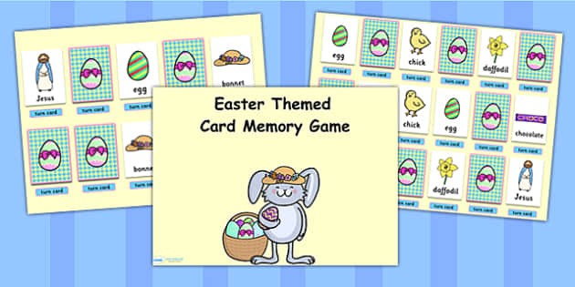 Easter Themed Card Matching Flipchart Game - easter, match, game