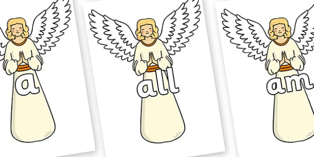 Foundation Stage 2 Keywords on Angels - FS2, CLL, keywords, Communication language and literacy,  Display, Key words, high frequency words, foundation stage literacy, DfES Letters and Sounds, Letters and Sounds, spelling