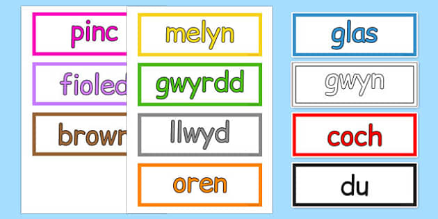 Colours Vocabulary Cards Cymraeg - cymraeg, colours, vocabulary, cards