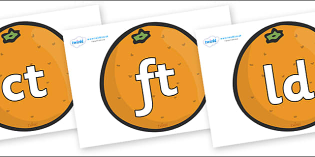 Final Letter Blends on Oranges - Final Letters, final letter, letter blend, letter blends, consonant, consonants, digraph, trigraph, literacy, alphabet, letters, foundation stage literacy
