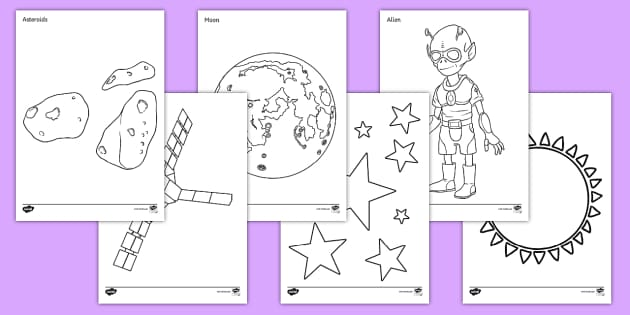 Space A4 Colouring Posters - Display, poster,  KS1, space, ship, rocket, alien, launch, foundation stage, topic, moon, stars, planet, planets, colour recognition, fine motor skills