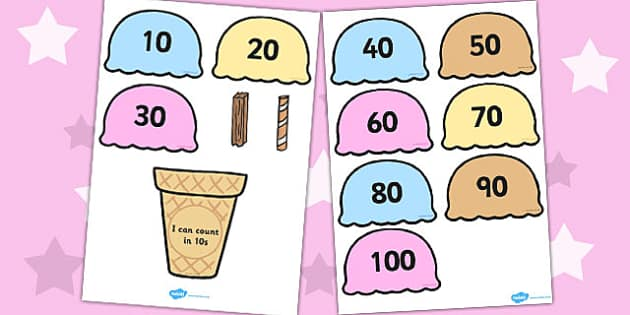 Counting in 10s Ice Cream Cone Ordering Activity - Ice, Cream
