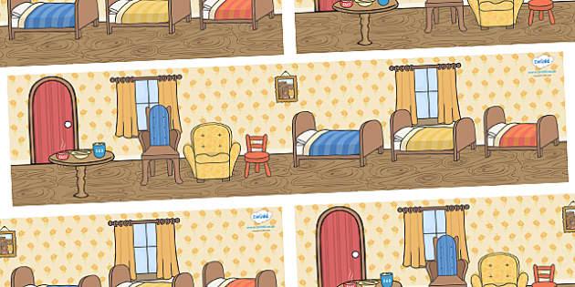 Goldilocks and the Three Bears Small World Background - Goldilocks, Small World, backdrop, background, scenery, small world area, small world display, small world resources, stick puppet, traditional tales, tale, fairy tale, three bears, porridge,