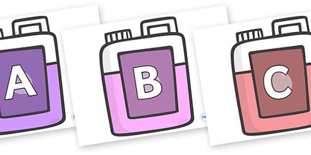 A-Z Alphabet on Bottles - A-Z, A4, display, Alphabet frieze, Display letters, Letter posters, A-Z letters, Alphabet flashcards