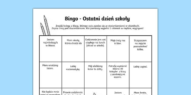 Bingo Ostatni dzień szkoły po polsku, worksheet