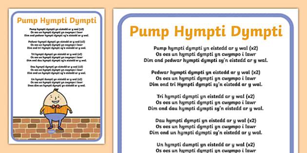 Five Humpty Dumptys Welsh Second Language Song Lyrics-Welsh
