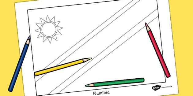 Namibia Flag Colouring Sheet - countries, country, geography