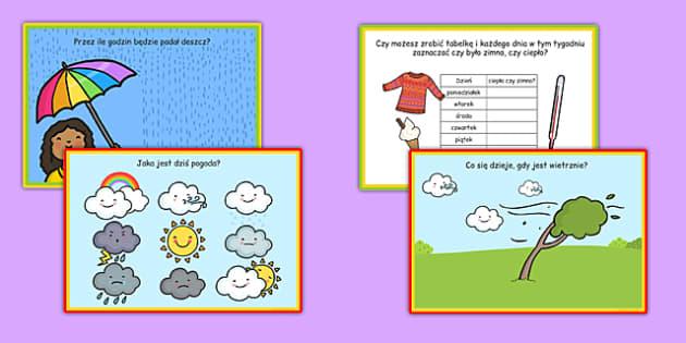 Karty z wyzwaniami Prognoza pogoday po polsku - słońce, deszcz