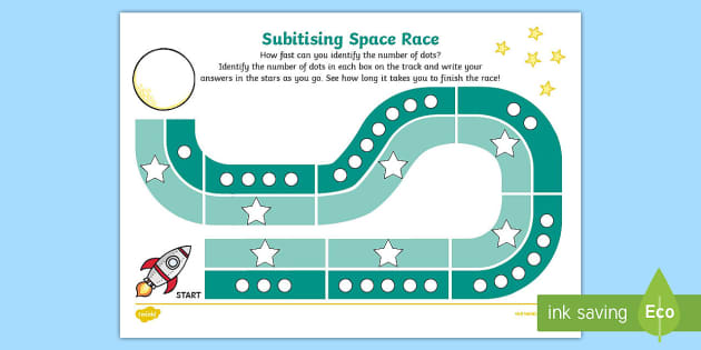 Subitising Race Activity Sheet 1-9 - subitising cards, 1-9, recognising numbers, numbers, recognise, subitising, worksheet