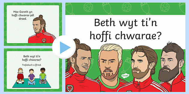 What do you like to play? Welsh Language Pattern PowerPoint-Welsh