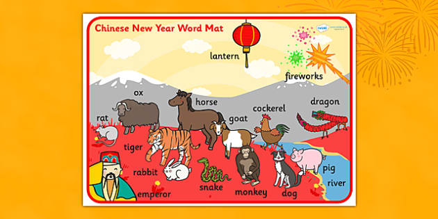 Chinese New Year Scene Word Mat - chinese new year, word mat