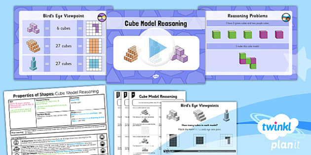 PlanIt Y5 Properties of Shapes Lesson Pack 3D Shapes from 2D representations (2) - Properties of Shapes, 3D shapes, 2D shapes, geometric shapes, shape nets