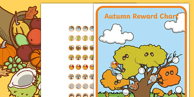 Autumn Sticker Reward Chart 15mm - autumn themed, sticker reward chart, reward charts, autumn themed reward charts, autumn themed sticker charts