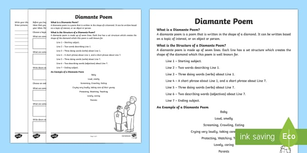 Diamante Poem Writing Template - Literacy, Interpreting, analysing, evaluating, english, poetry, writing, poems, poetry, diamante, gl