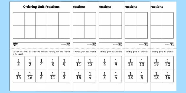Ordering Unit Fractions Activity - Fractions, unit fractions, Year 3, Y3, ordering, fractions, denominators,