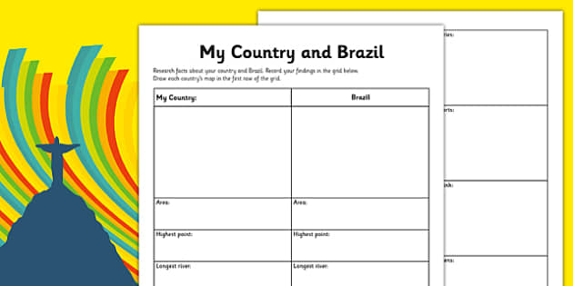 Rio Olympics 2016 My Country and Brazil Research Activity Sheet - Rio, Olympics, 2016, country, factfile, Brazil, geography, worksheet
