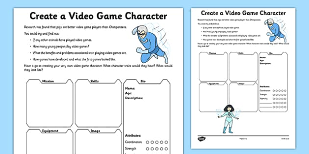 Create a Video Game Character Activity Sheet - video, design, character, worksheet