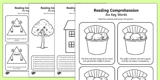 Reading Comprehension Six Key Words Activity Sheet Pack, worksheet