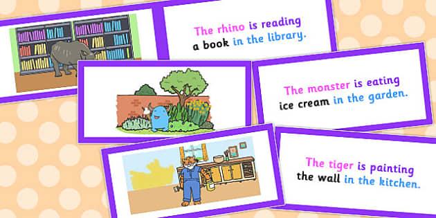Picture Description Cards Unusual Sentences - picture description