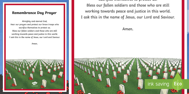 Remembrance Day Prayer A4 Display Poster