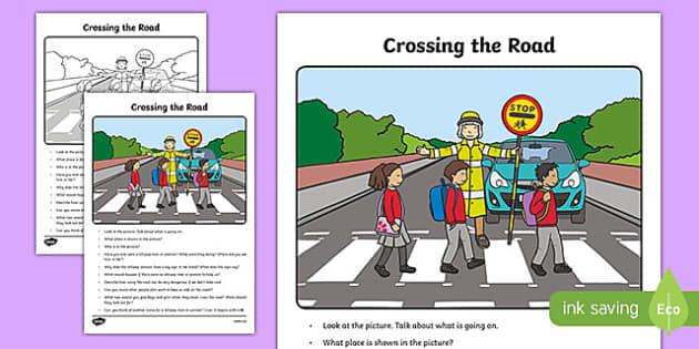Crossing the Road Oral Language Activity Sheet-Irish, worksheet