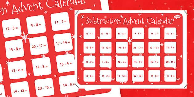 Subtraction to 20 Advent Calendar - subtraction, 20, advent, calendar, advent calendar, christmas