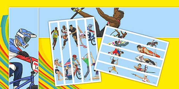 The Olympics Sports Events Display Borders - Events, sports, display border, classroom border, border, Olympics, Olympic Games, sports, Olympic, London, 2012, activity, Olympic torch, flag, countries, medal, mascots, flame, compete, events, tennis, a