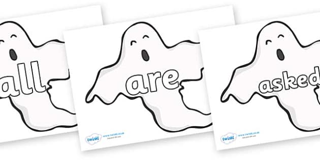 Tricky Words on Ghosts (Plain) - Tricky words, DfES Letters and Sounds, Letters and sounds, display, words