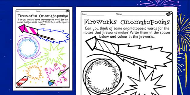 Firework Onomatopoeias Activity Sheet - firework, onomatopoeia, sheet, worksheet